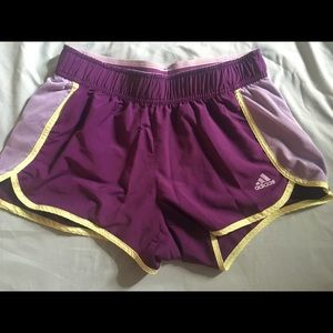 Adidas Athletic Shorts - Purple and Lime